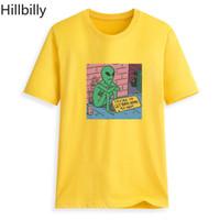 camisetas de algodón superhéroe al por mayor-Hillbilly Cmk108 Superhero solitario extraterrestre sentado junto a la pared Aesthet Camisetas Manga de algodón divertida O-cuello Harajuku Camisetas Mujer J190427