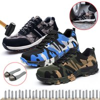 Wholesale steel toe sneakers for sale - Group buy PUIMENTIUA new Work Sneakers Indestructible Ryder Shoes Men And Women Steel Toe Air Safety Boots Puncture Proof Breathable Shoes