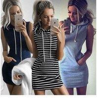 gri şerit moda toptan satış-Toptan Kadın Kolsuz Kazak sıcak satış yaz Bodycon Hoodies şerit gri elbise moda stil kolsuz giyim