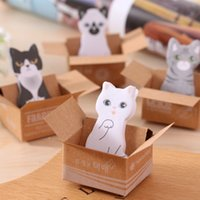 katze klebrige notizen großhandel-Kawaii Karton Katze Kitty Notizblöcke Haftnotizen Aufkleber Label Stick Neujahr Büromaterial Geschenk