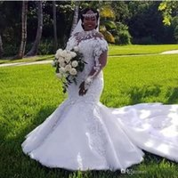 Wholesale illusion neckline mermaid gowns for sale - Group buy African Plus Size Wedding Dresses Luxury High Neckline Illusion Long Sleeve Appliques Beaded Mermaid Bridal Gowns Court Train