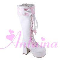 ingrosso merletti su piattaforma punk alta-Stile giapponese Sweet Pink Lolita Cosplay stivali alti al ginocchio Punk Lace Up Princess Boots Chunky alta piattaforma Bow Winter