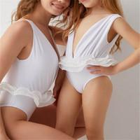 weiße kinder bikinis großhandel-Weiße Spitze Mama und Tochter passenden Bikini Mädchen Bademode Kinder Bademode Familie passenden Badeanzüge Mutter Baby Tochter Badeanzug A4915