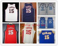 брошь трикотажные изделия 4xl оптовых-NCAA баскетбол Джерси Нью-Джерси Винс 15 Картер Джерси чистый возврат красный темно-синий ретро обычай двойной сшитый вышивка большой размер S-5XL