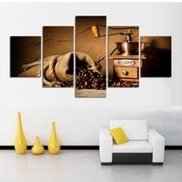 maquinas modernas al por mayor-Nueva venta pintura sin marco moderna sin marco de la máquina de café cuadros frijoles lienzo de la pared para la decoración casera decoración estilo vintage
