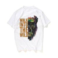 tierkopfhörer großhandel-Sommer Herren T-Shirt atmungsaktiv Herren Fashion Shirt Kurzarm Hip-Hop Kopfhörer Orang-Utan Animal Print cooles T-Shirt