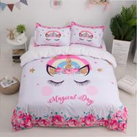 conjuntos de cama unicórnio venda por atacado-Unicórnio 3D Cama Set Bonito Dos Desenhos Animados Capa de Edredão Fronha Rainha do Rei Tamanho King Crianças Meninas Quarto Capa de Cama têxtil de casa
