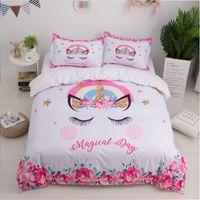 kız çocuk yatakları toptan satış-Unicorn 3D Yatak Seti Sevimli Karikatür Nevresim Yastık Kılıfı İkiz Kraliçe Kral Çocuk Kız Yatak Odası Yatak Örtüsü Ev tekstili