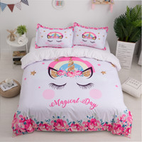 textiles para la ropa de cama al por mayor-Unicornio Juego de cama 3D Lindo de la historieta funda nórdica funda de almohada Twin Queen King Size Kids Girls Dormitorio cubierta de la cama textil para el hogar