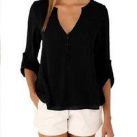 Women V Neck Irregular Shirt Loose Long Sleeve Waist Down Plus Size Blouses Famale Casual Top