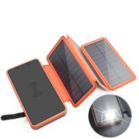 tablero inalámbrico al por mayor-20000 mah energía solar 4 tablero plegable fuente de alimentación móvil gran capacidad teléfono móvil al aire libre carga inalámbrica tesoro
