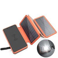 celular carregado de energia solar venda por atacado-20000 mah energia solar 4 placa dobrável de alimentação móvel de grande capacidade ao ar livre do telefone móvel sem fio cobrando tesouro