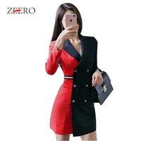 siyah kırmızı ol elbise toptan satış-Pist Tasarımcı Kruvaze Patchwork Blazer Elbise Moda Yüksek Kalite Siyah Kırmızı Renk Coats İş Kıyafetleri OL vestidos Hit