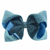 Wholesale children hairclips resale online - INS Kids Girls Glitter Big Bowknot Hairpin Inch Shiny Cloth Bow Hairpins Hairclips Sparkle Barrettes Hairbands Children Hair Clips A41004
