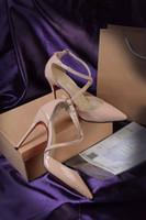 deri ayakkabı askısı tokası toptan satış-Toka kayış tek productclassic Çıplak ve siyah kadınlar Yüksek Topuklu rugan Sivri Burun Elbise Ayakkabı Lüks Sığ Ağız Kırmızı Taban Ayakkabı