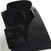 черные хлопковые рубашки china оптовых-Китай Размер мужская 40% Хлопок Платье Формальная Офисная Рубашка Дизайнер Camisa Повседневная Мода Черный С Длинным Рукавом для Весна-Лето GXW1006