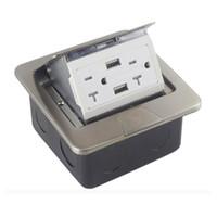 ingrosso usb outlets-Alluminio US GFCI Scatola da pavimento Scatola da incasso 15A / 20A Presa Presa elettrica Caricatore USB Argento dorato Disponibile