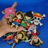 llavero de una pieza de anime al por mayor-Jepan Anime One Pice Llavero Plástico One Piece Pirates Llavero Llavero Titular Bolso Cuelga Will and Sandy Fashion Jewelry 340119