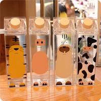 quadratische milchflaschen großhandel-Transparente quadratische Plastikschale Cartoon Tier Kuh Schwein Kunststoff Sportflasche PS Tiger Wasser Milch Saft Wasserkocher 500 ml