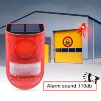 luces de advertencia de alarma al por mayor-Lámpara de alarma solar Edison2011 110db Sonido de advertencia 6led Luz roja IP65 Sensor de movimiento a prueba de agua Luces de precaución para almacén Secret Place Place