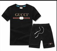 zebra moda gömlek toptan satış-Bebek Erkek Ve Kız Tasarımcı T-Shirt Ve Şort Takım Marka Eşofman 2 Çocuk Giyim Seti Sıcak Satmak Moda Yaz çocuk T5234