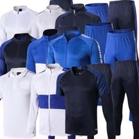 Wholesale uniform hiking resale online - 2020 KANTE ABRAHAM tracksuit Long Sleeve high collar Soccer kit white sport training suit sweatsuit Football Uniform top Pants