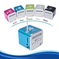 caixa de amplificador de rádio venda por atacado-2016 Portátil TD-V26 Mini Liga de Alumínio Portátil USB Speaker Amplificador de Som Caixa de Rádio FM Suporte TF / SD Card Speaker