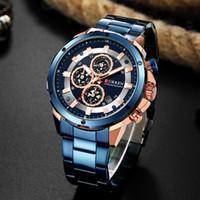 cronógrafo actual al por mayor-CURREN Relojes de hombre azul con correa de metal Relojes de cronógrafo Reloj de cuarzo de acero inoxidable para hombre 2019