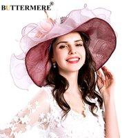 weibliche kirchenhüte groihandel-Großhandel Purple Sun Hats Frauen Organza Elegante Kentucky Derby Hüte Damen Blume Hochzeit Formale Sommer Kirche Caps Female