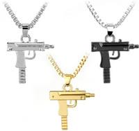 maschinengewehr anhänger großhandel-Neue Uzi Gold Kette Hip Hop Maschinengewehr Halskette Anhänger Männer Frauen Mode Marke Gun Form Pistole Lange Anhänger Halskette Schmuck Geschenke NEUE