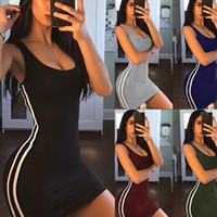 ingrosso collant donna-Womens Dress 2019 Summer New Casual tinta unita gonna stretta aderente gonna a righe mini gonna sportiva stile sportivo