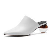 sutyen dişi kadın türleri toptan satış-Bahar ve yaz moda kadın Muller ayakkabılar kaliteli sığır derisi kumaş topu tipi topuk tasarımı rahat kadın terlik