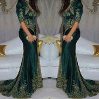 indian gown style dresses 도매-빈티지 2020 다크 그린 이브닝 드레스 자수 구슬 장식 조각 인도 스타일 하프 슬리브 댄스 파티 드레스 높은 목 인어 파티 드레스