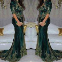 indischen mode-stil großhandel-Vintage 2020 Dark Green Abendkleider Stickerei wulstige Sequin indische Art Halbarm Abendkleider hohe Ansatz-Nixe-Partei-Kleid