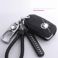 deri çanta toptan satış-Deri Anahtar Cüzdan anahtar kılıf Volkswagen Sagitar için Laiyi Tiguan L Golf 7 Bora Passat Jetta Magotan araba anahtarı korumak metal halka