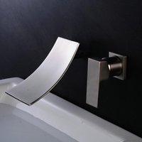 siyah banyo lavabo karıştırıcı dokunun toptan satış-Duvara Monte Havzası Musluk Tek Kolu Banyo Mikser Dokunun Sıcak Soğuk Lavabo Musluk Rotasyon Bacalı Perdahlı Nikel / Krom / siyah