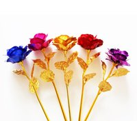 sevgililer için romantik çiçekler toptan satış-Aşık Çiçekler 24 K Altın Gül Düğün Dekorasyon Altın Çiçek Romantik sevgililer Günü Süslemeleri Hediye Altın Gül