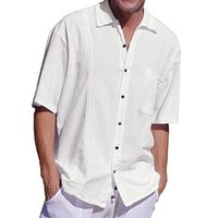 herren schwarze hemdtasche großhandel-Mens Solide Casual Shirts Frühling und Sommer Neue Brusttasche Knopf Revers Shirts für Männer Leinen Kurzarm Bottoming Shirts Schwarz und Weiß