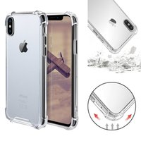 ingrosso hybrid case-Trasparente antiurto acrilico ibrido paraurti armatura morbido TPU Frame PC Custodia rigida per iPhone XR XS MAX 8 7 Samsung S10 Plus