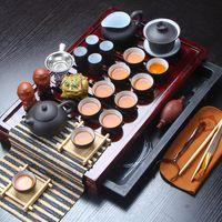 teteras yixing al por mayor-Venta caliente Yixing Cerámica Kung Fu Set Tetera de madera maciza Traje de 27 piezas Ceremonia del té china Q190604
