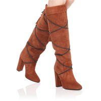 ingrosso marrone marrone marrone-2018 New Fashion Nero marrone folk-custom handmade nappa super-tacchi chunky tacchi metà stivali stivali al ginocchio donne punta a punta punta tonda wom