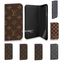 protetores de smartphones venda por atacado-Official Damier Folio Wallet Phone Case para o iPHONE X XS MAX XR 8 7 mais casos de bolsa de couro PU Leather Protector capa