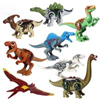 Wholesale plastic blocks for kids resale online - 8pcs Jurrassic World Legoingly Jurassic Dinosaur Figure Set For Kids Animal Building Blocks Sets Toys for Children