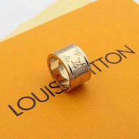 Wholesale womens gold wedding bands for sale - Group buy fashion L Stainless Steel Top Quality Styles Colors L V Stamp Ring Womens Gold Plated Jewelry Wedding With box