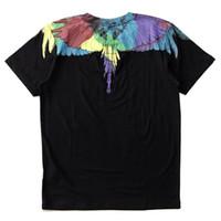 vestidos de noche de algodón de manga corta al por mayor-Marcelo Burlon Diseñador para hombre Camisetas 19ss Diseñador de lujo Camisetas MB Wings Impreso Hombres Mujeres Camisetas de manga corta Tamaño M-XXL