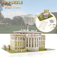 hobi evi toptan satış-Karton Beyaz Saray Bulmacalar Oyuncaklar Çocuk DIY için El-Monte Yapı Modeli Kitleri Eğitim Hobiler Hediye Ev Dekor