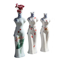 Wholesale hand painted chinese paintings for sale - Group buy Chinese Cheongsam Style Porcelain Vase Hand Painted Traditional Qipao Lady Statue Elegant Decoration for Home Wedding Hotel