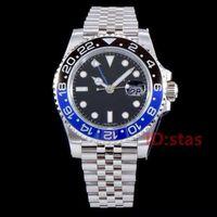 azul negro ceramica al por mayor-Negro Azul PULSERA DE JUBILEO Cerámica Bisel Diseñador Mecánico Automático Gmt Hombres Reloj de pulsera de lujo para hombre Fecha Relojes de moda