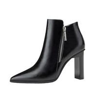 ботинки офисной обуви оптовых-Сапоги на молнии Office на высоком каблуке для женщин Роскошные остроконечные ботинки на пальцах Плюшевые зимние пинетки Zapatos De Mujer Black Wine Red