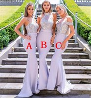vestido de noiva real ocidental venda por atacado-Lavanda Sereia Vestidos de Dama De Honra Para O Casamento Ocidental Lace Appliqued Lantejoulas Longo Convidado Do Casamento Vestido Plus Size Custom Made